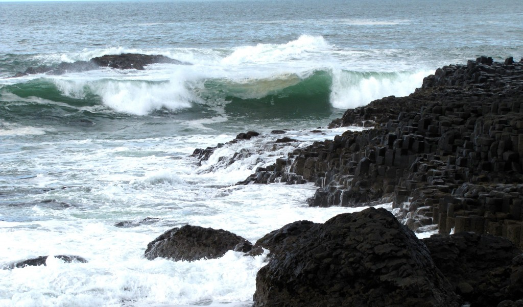 Waves crashing on the Giant's Causeway. Big, but not terrifyingly big.