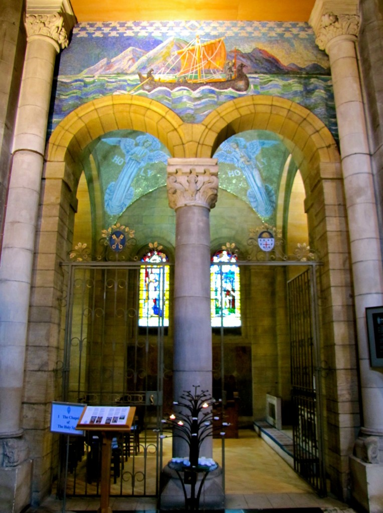 The Chapel of the Holy Spirit is right across the church from the Baptistery, and has beautiful mosaics, as well. The mosaics were made by two sisters in the 1930s.