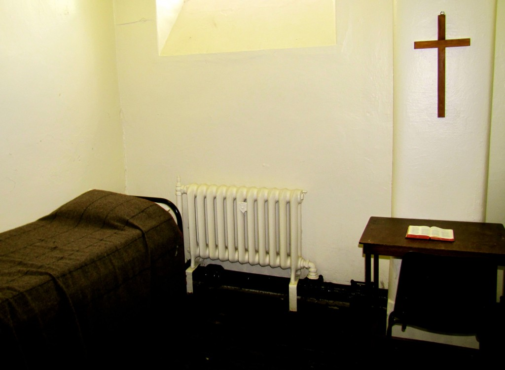 This cell was used to house condemned criminals. It was twice as large, in part because two guards had to be in with the prisoner twenty-four hours a day.