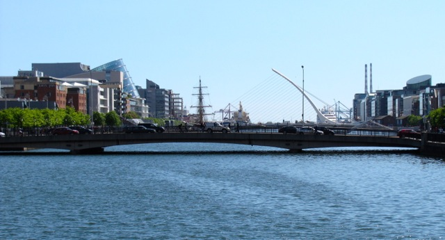 This is a view down the Liffey towards Dublin Port. I never made it there last trip. It looks like there might be a tall ship there on the left.