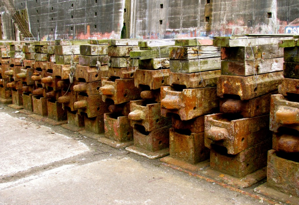 Each of these stacks of keel blocks weighs four tons. They were moved about - including being hauled into and out of the dry dock - by hand...