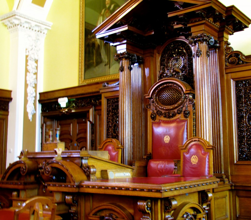 The Lord Mayor's Chair. Also, the chairs of the Deputy Lord Mayor and the Chief Administrator.