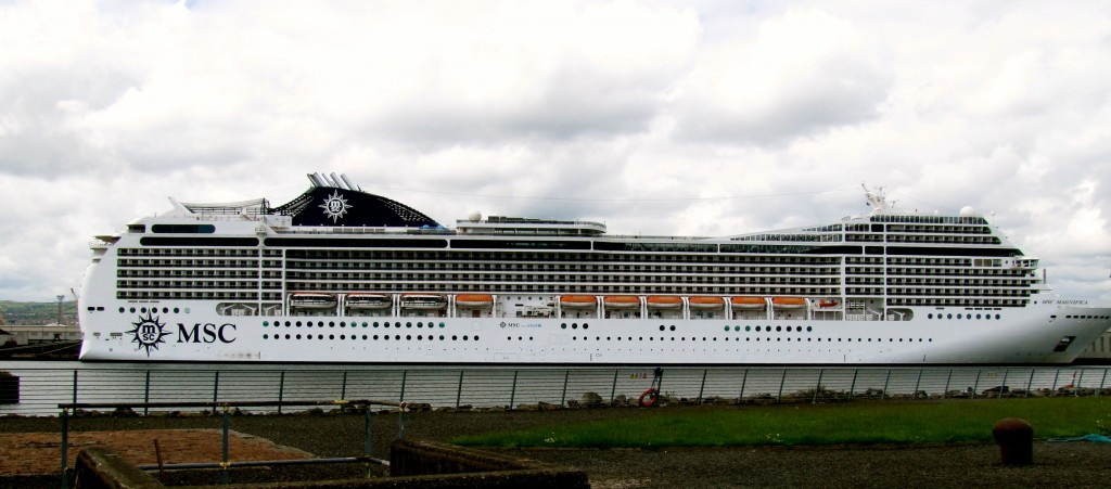 Some perspective. This is MSC Magnifica, the largest cruise ship that currently puts in to Belfast. She is only 72 feet longer than Titanic, and apparently not as tall. So, in 100 years, only 72 feet longer. That's something.