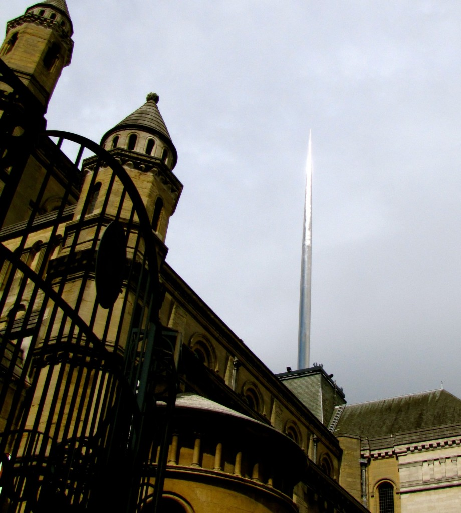 This is the Spire of Hope, rising out of St. Anne's Cathedral. It's a sister piece to the spire on O'Connell Street in Dublin, erected in response to the 9/11 attacks in NYC.