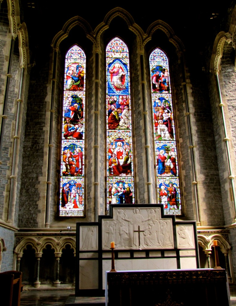 The altar and rosary window of the cathedral.
