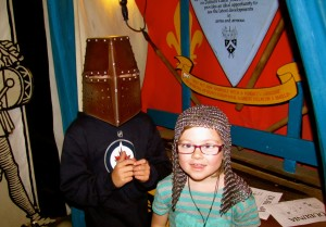 Dublinia is a wonderful little museum aimed at kids that shows Viking Dublin, medieval Dublin, and the way the information was discovered. Among the things they have is a chain coif and a full helmet that kids can try on.