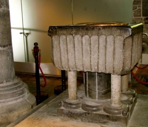 Baptismal font from the 13th century.