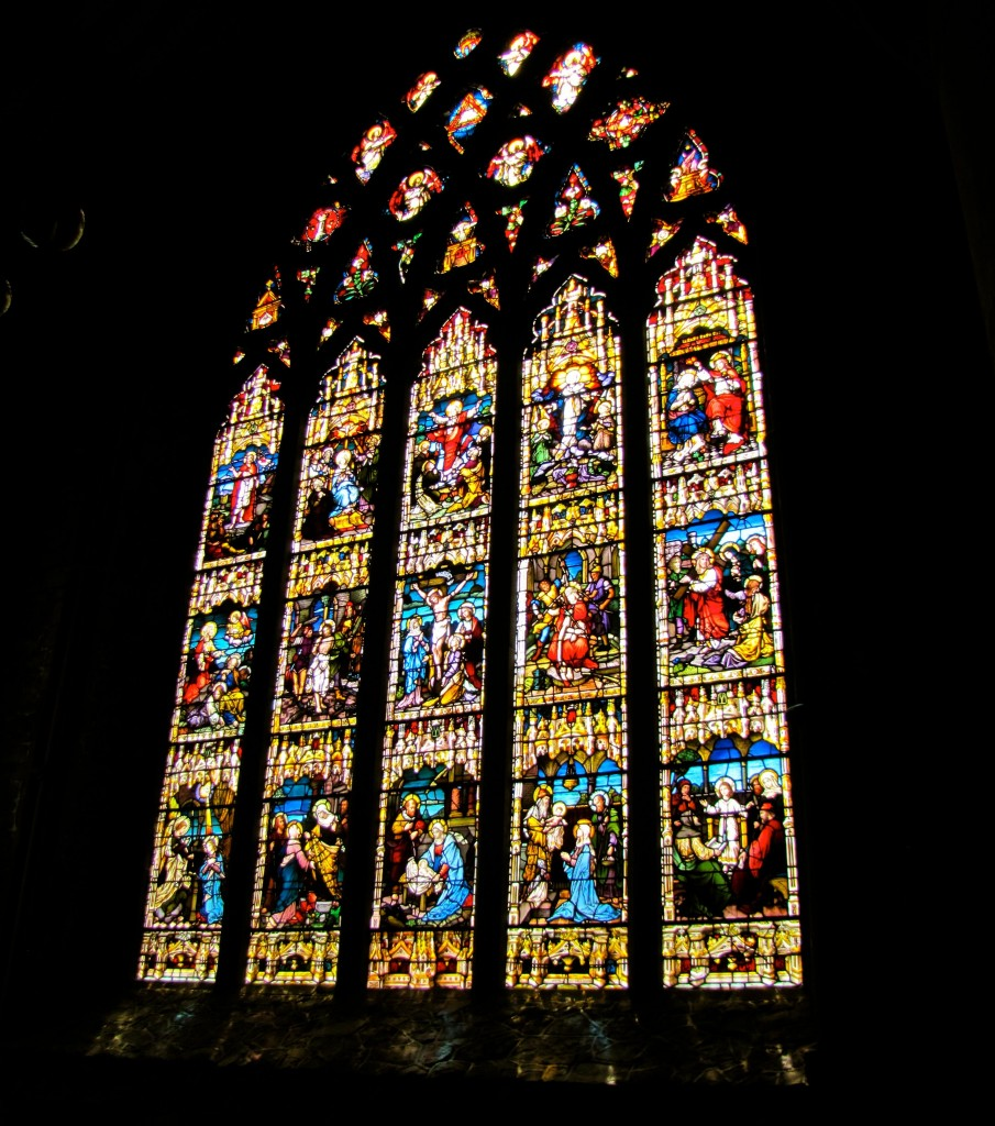 The Rosary Window of the Black Abbey is famous for its beauty. When Henry VIII was claiming the land, the bishop wanted to take the window back to Rome, but the town refused his (very, very large) offer of money. So, he had an Italian artist draw up plans that would let the window be recreated in Rome, but the artist somehow left the plans behind when he and the bishop fled. This allowed the city of Kilkenny to recreate the window when they restored the Black Abbey.