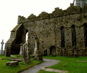 Like a lot of old churches, abbeys, etc., the site was in use as a graveyard long after the buildings fell into ruin.
