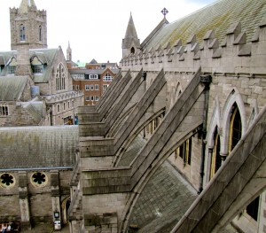 Climbing up the stairs in the transept, you then have to cross the roof of Christchurch to the bell tower. The view is stunning.