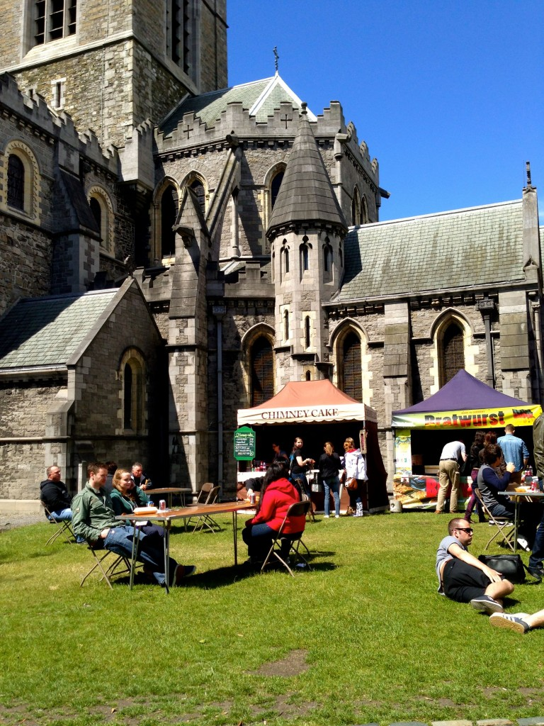There was some sort of fair going on at Christchurch. I got a really tasty bratwurst and an ice cream cone for lunch and some very nice fudge to take home.