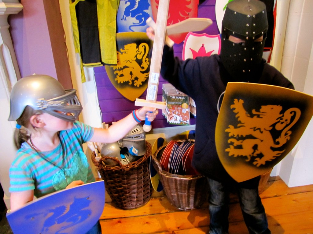 And, of course, there were helmets, shields, and swords in the gift shop, so the kids had to attack each other.