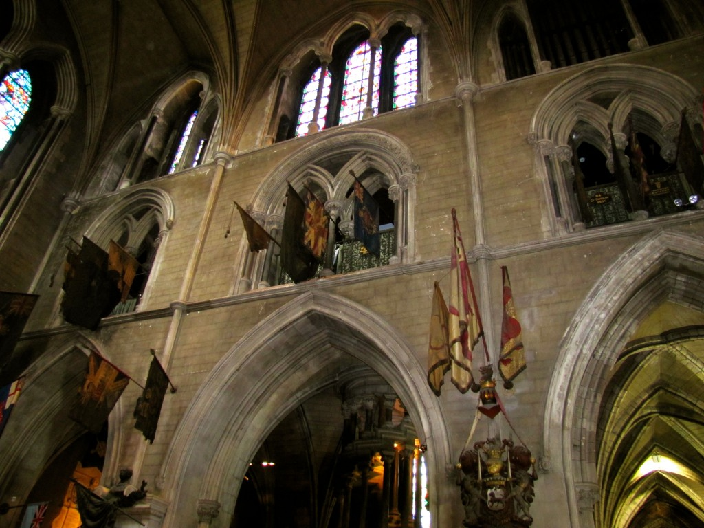 One of the main sections of St. Patrick's Cathedral is the hall where the colours of the Irish regiments hang. By tradition, when an Irish regiment is disbanded or retired, its colours are hung in this hall until they rot away.