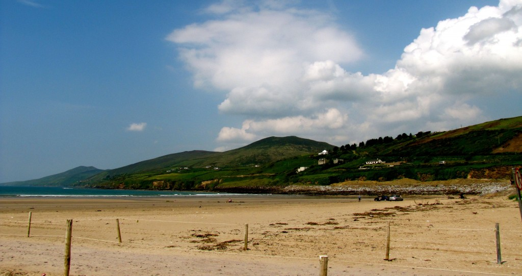 Inch Beach is a peninsular beach made by ocean drift, stretching almost all the way across Dingle Bay from the Dingle Peninsula to the Iveragh Peninsula.