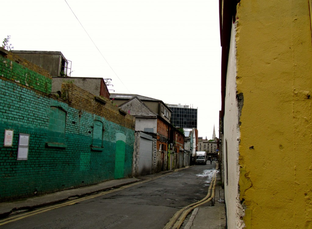 Moore Lane led from Henry Street in an L-shape and connected to Moore Street. The 350 survivors of the GPO, including Michael Collins, were trapped when they got up to Moore Street.