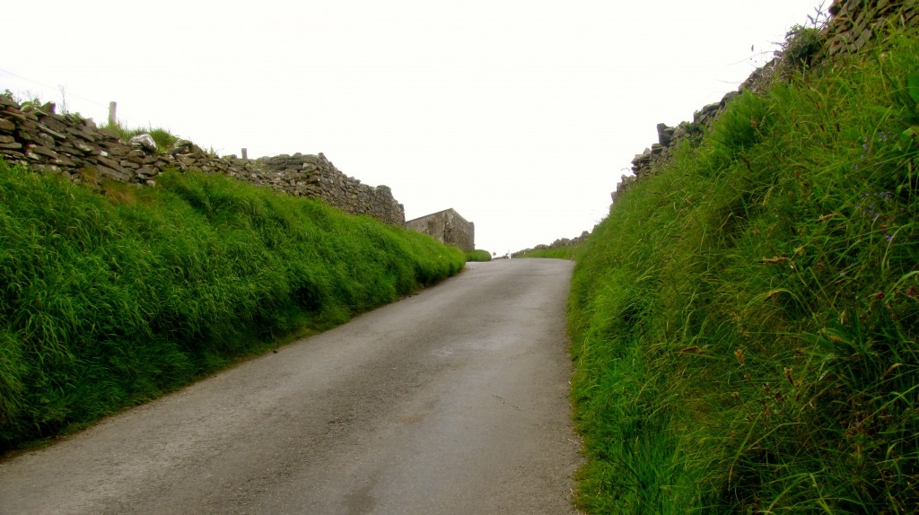 The narrow roads leading up in the Doolin hills. Gotta keep an eye out for cars, because there's really only one lane.