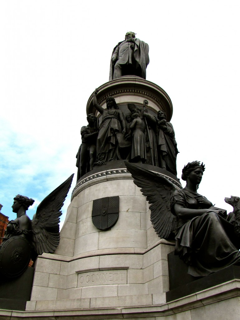 "The statue of Daniel O'Connell took a fair number of bullets from the Lewis gun emplacements on the other side of the Liffey. The British had also set up a mortar beside Trinity College. They couldn't see the GPO, so they aimed ""just to the left of Nelson's Column"" which was where the spire stands now."