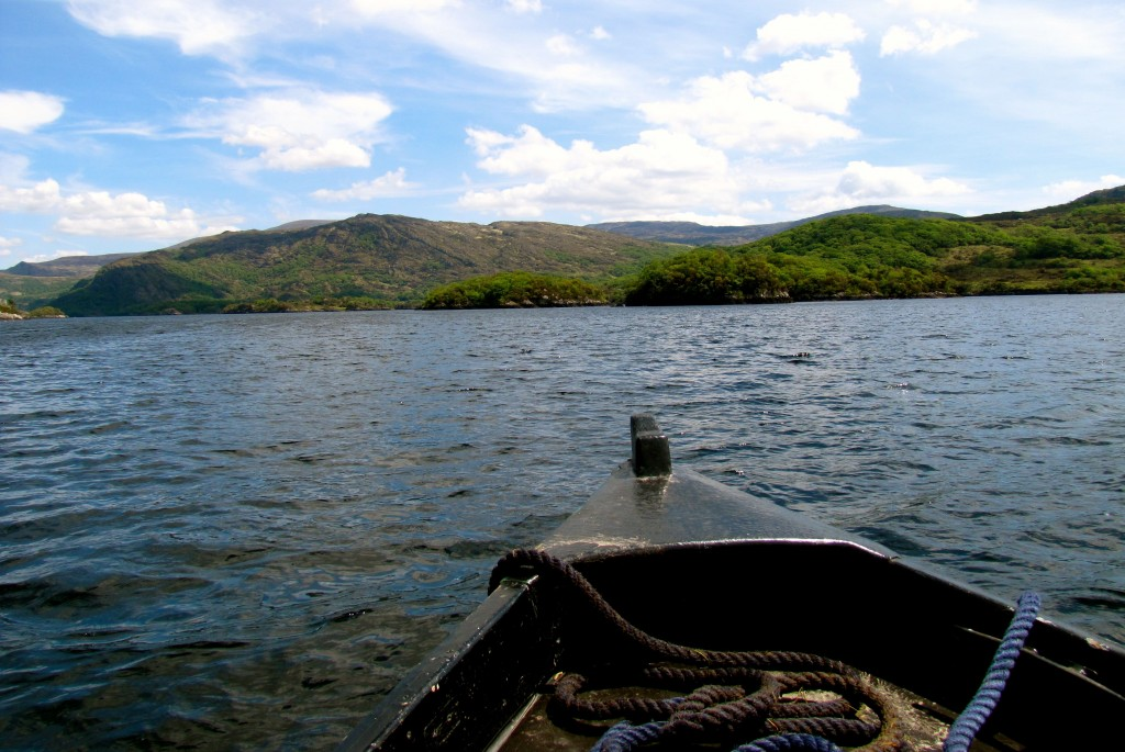 The boats pass through three different lakes and a river as you circle Purple Mountain.