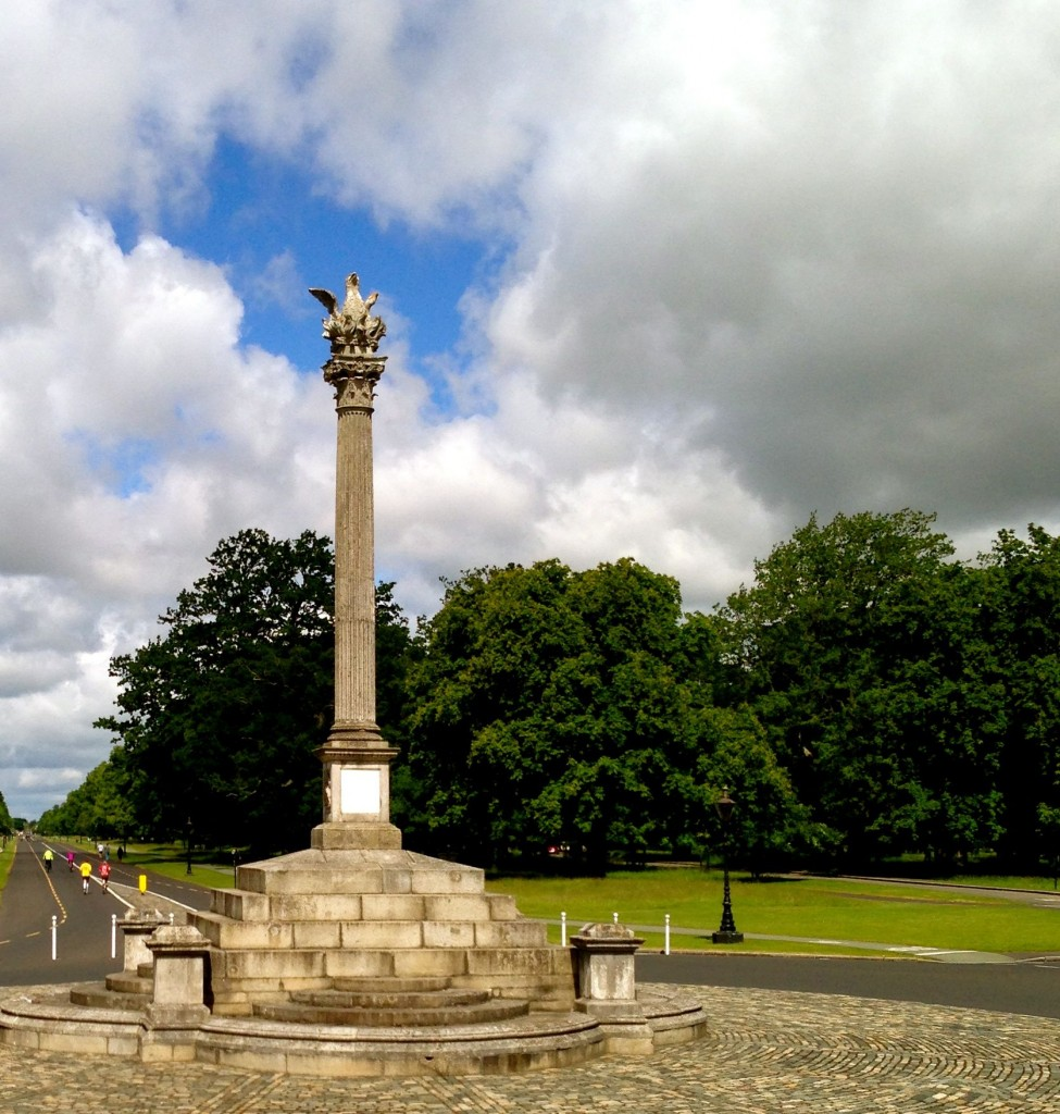 The ride went through Phoenix Park. This is the phoenix monument in the middle of the park. The name of the park, though, comes from the Irish words for Clear Water - they just sound like Phoenix.