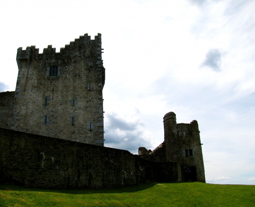 Ross Castle is a 14th century castle. Ross is the Irish word for promontory, so this is the castle on the promontory.
