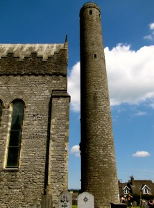 The round tower beside the cathedral goes up about a hundred feet. From it, the highest tower on the highest hill in Kilkenny, you get an unequaled view of the city. But that was just way too many steps for me today, considering doing the cave and the heat of the day. Besides, it leans.