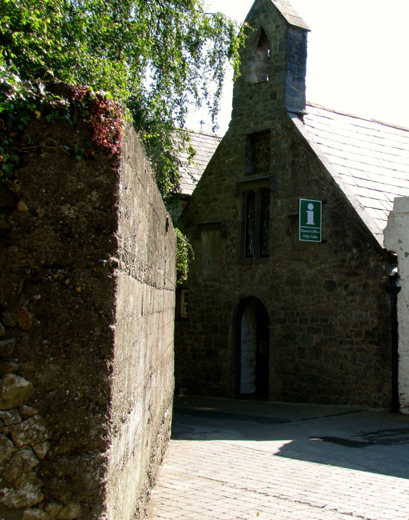 This is the back of the Shee Alms House. You'll notice that it's only one story tall, here, while it's two stories at the front. That should give you some idea of the hills in Kilkenny.