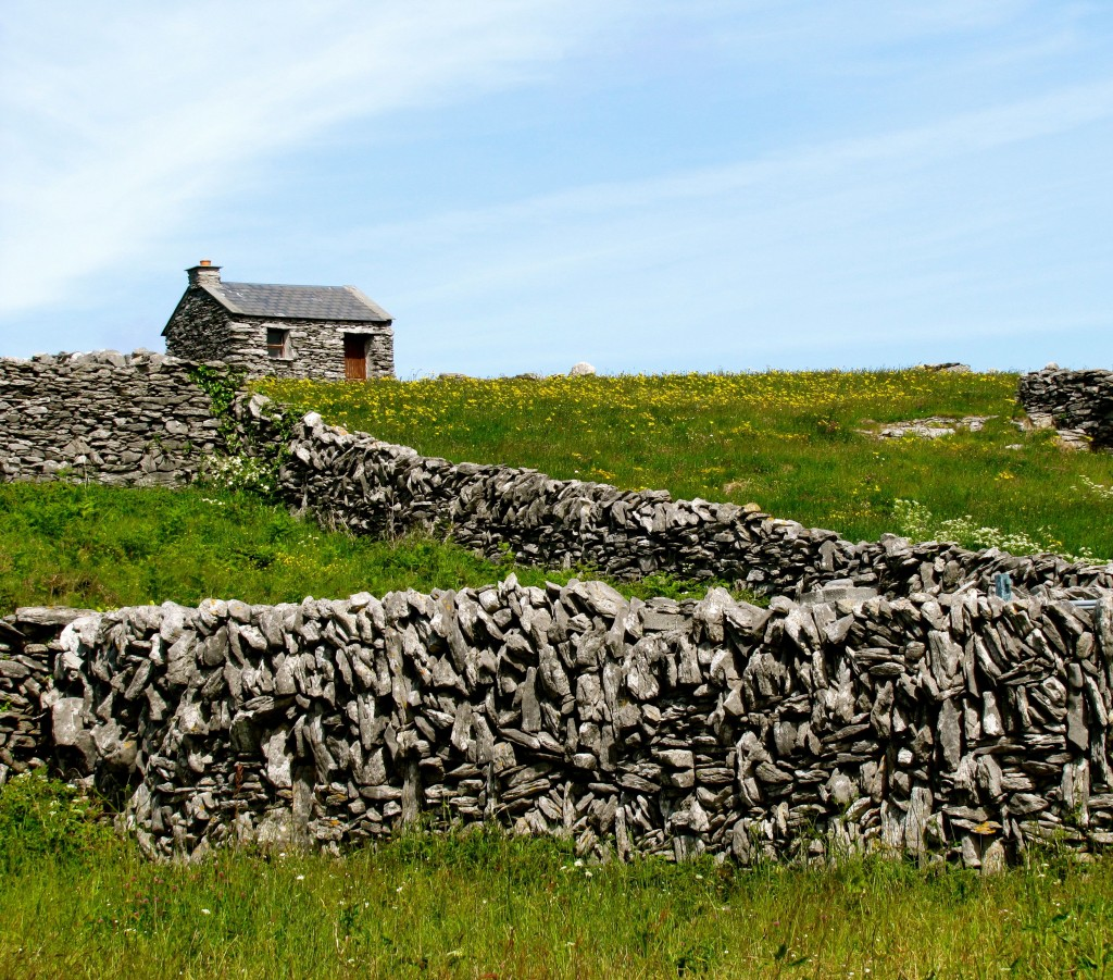 A neat looking stone house surrounded by stone walls.