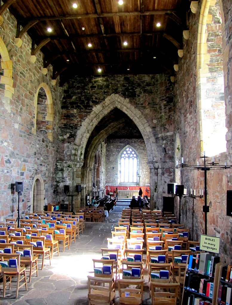 This is the interior of the abbey church. It's still used for services here on Iona, and is the site of pilgrimage.