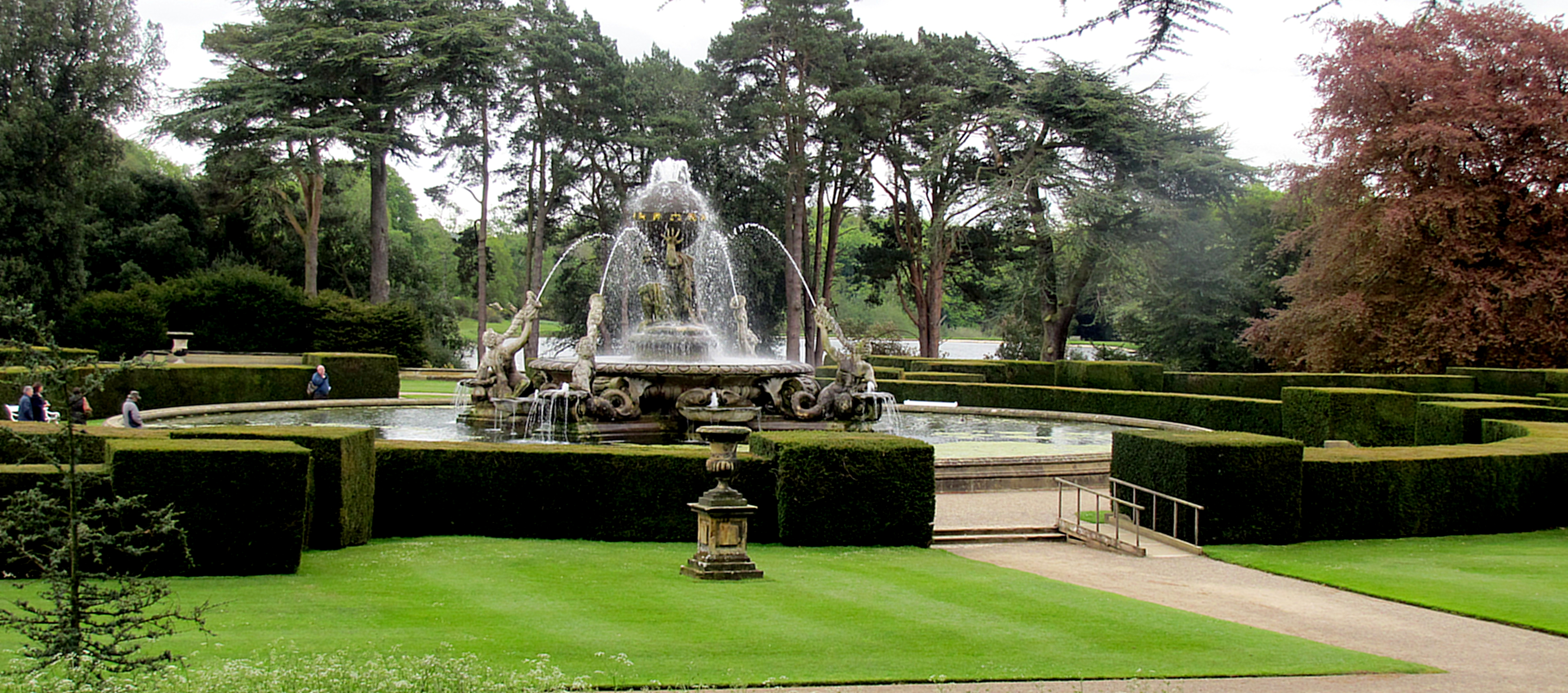 The Atlas Fountain is the main feature of the yard.