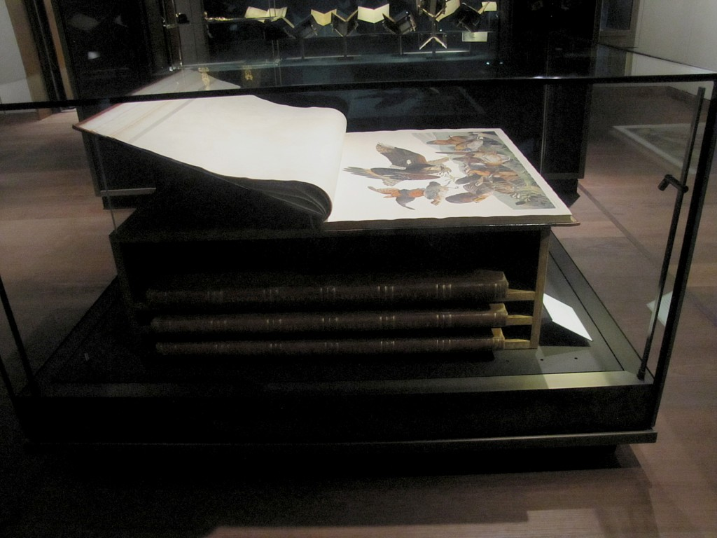 John James Audobon's Birds of North America. Four volumes in its special case. The pages are about four feet wide.
