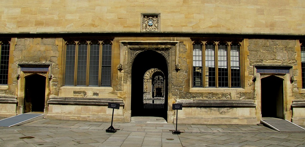 Surrounding the inner square of the Bodleian are these doors, each labeled with the subject that used to be stored in that area.