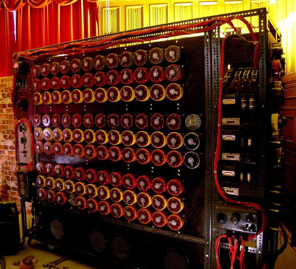 This is a Bombe. It's an electromechanical device that was used to test potential settings for the Enigma machines. This Bombe could test 36 different settings at once. Note that this, like pretty much all the other machines here is a reconstruction, because the original machines had been dismantled after the war. This was actually made as a prop for The Imitation Game.