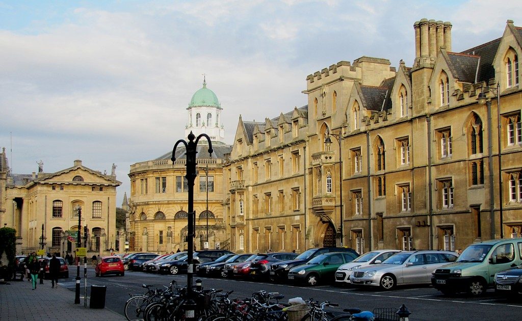 This is Broad Street, where I'm staying. You can see the rounded front of the Sheldonian Theatre, and the buildings seem to glow int he setting sun. It's very pretty.