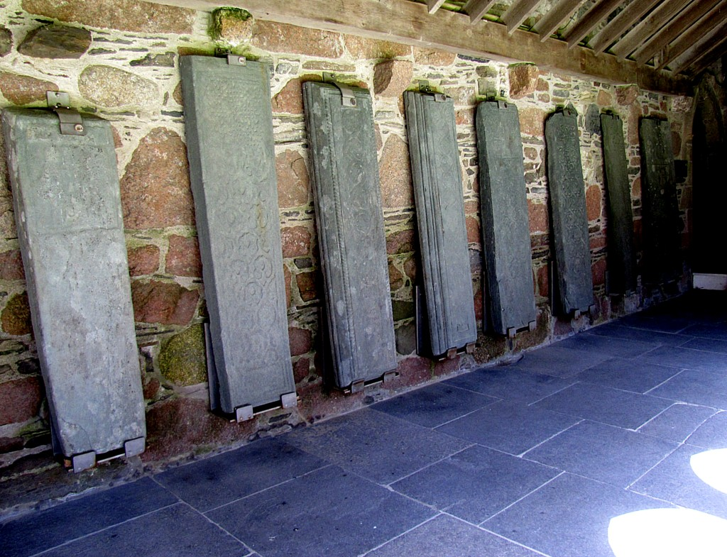 The walls surrounding the abbey cloister are lined with some of the many, many gravestones they've found on the site.
