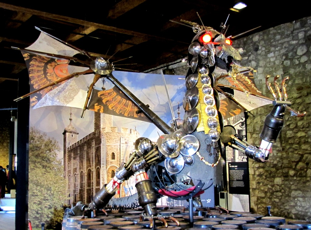 Or this dragon built from armour and weapons on the top floor.