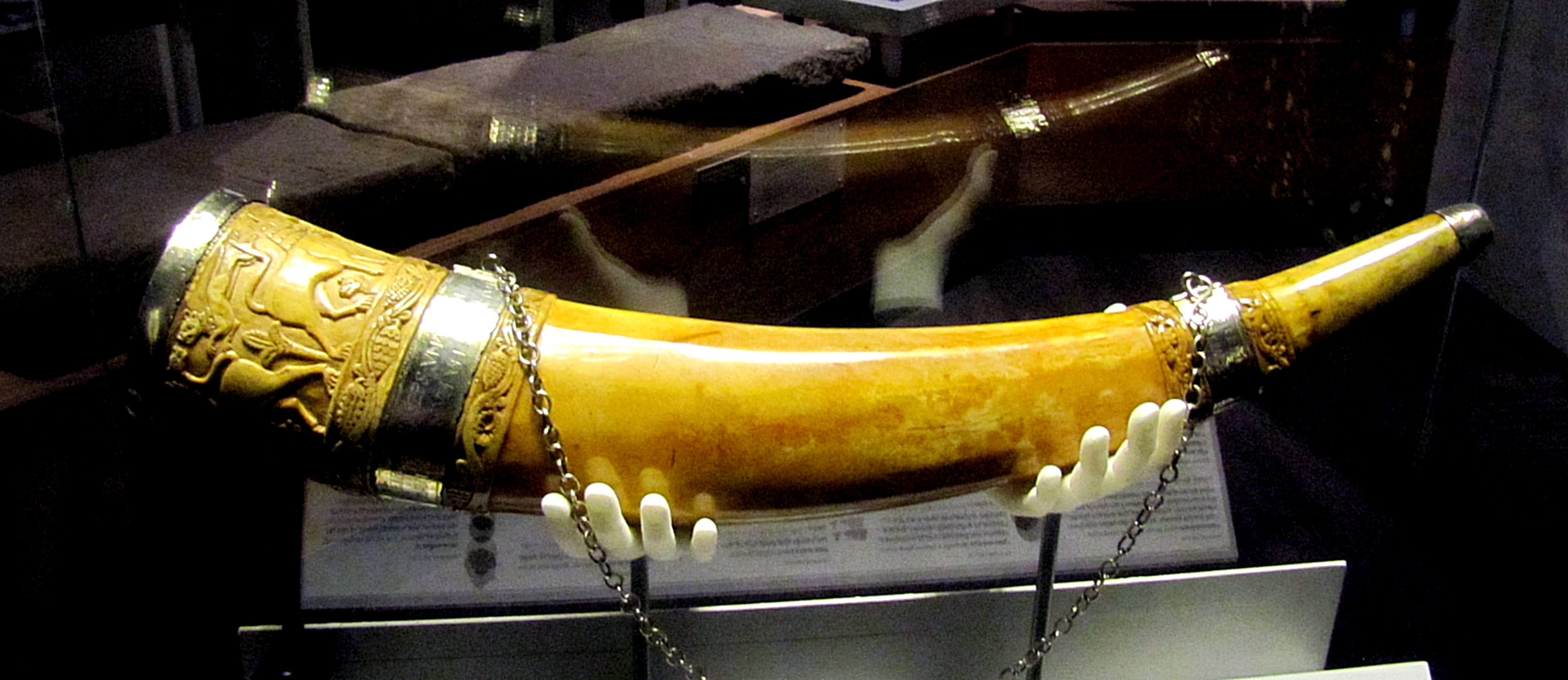Down in the undercroft, they also have a number of treasures of the cathedral. This is a carved elephant tusk horn that dates from the Saxon period.