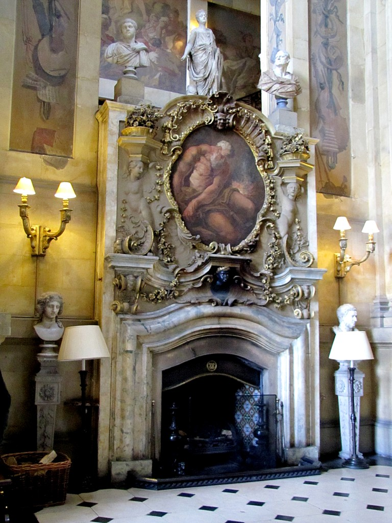 In the main entry hall. The painting over the fireplace is Vulcan at his forge.