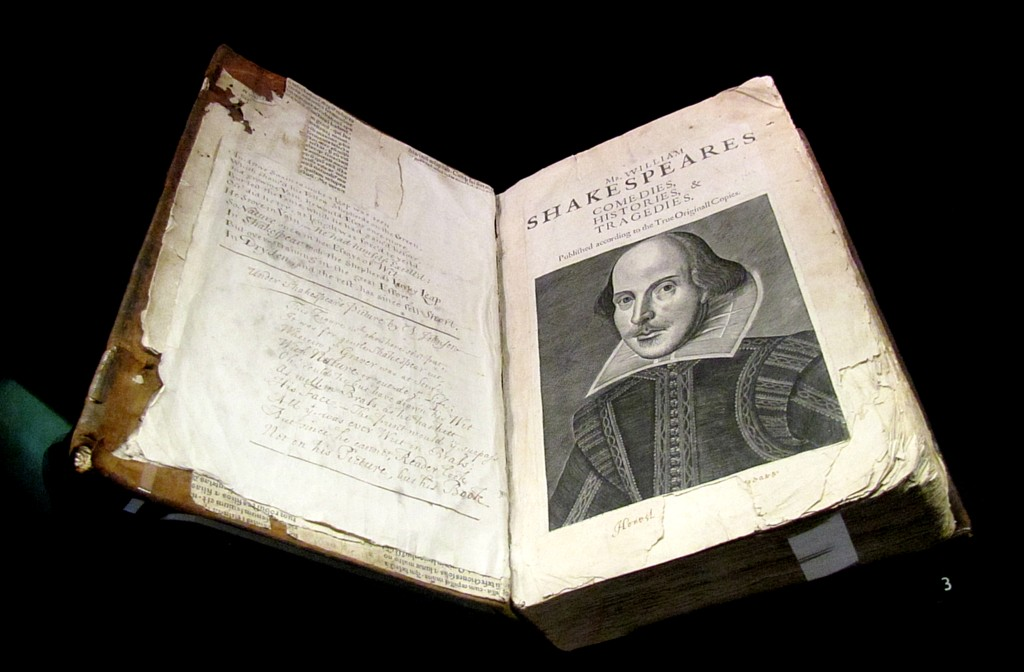 Remember that I said the First Folio was dedicated to William Herbert, the 3rd Earl of Pembroke? Well, here's the First Folio. They seem to have cleaned off the marks I made pressing my face against the glass. Stories that I was licking the case are filthy, filthy lies. Probably.