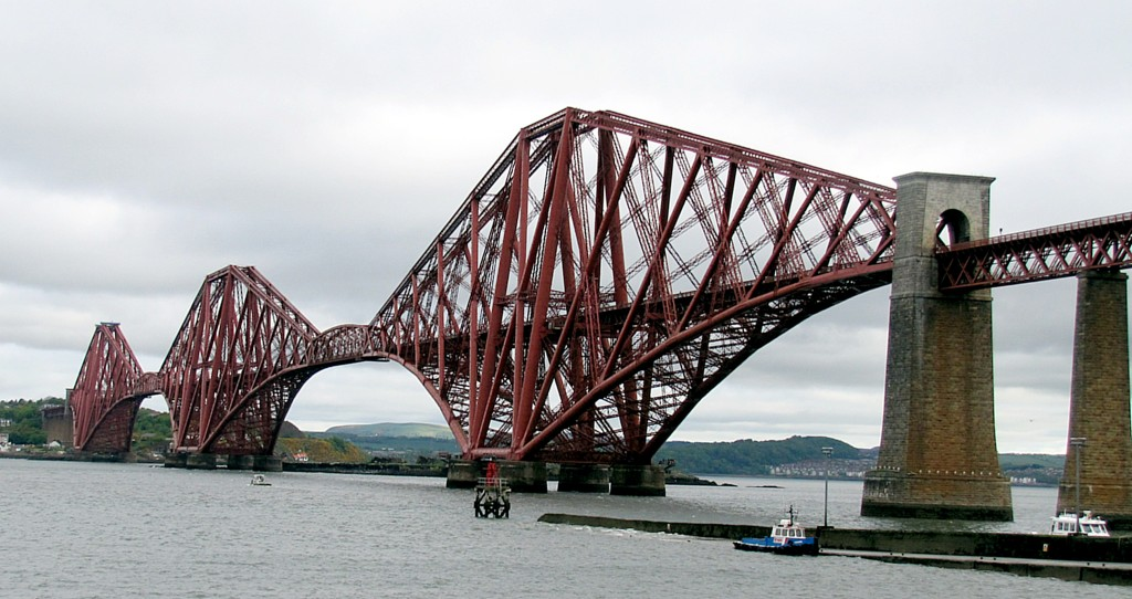 This is the rail bridge crossing the Firth of Forth, just north of Edinburgh. It's almost 125 years old. Apparently, it was being built just after another railway bridge over the Firth of Tay had collapsed, dropping a train into the water and causing numerous deaths. This one is intensively over-designed in order to avoid something similar.