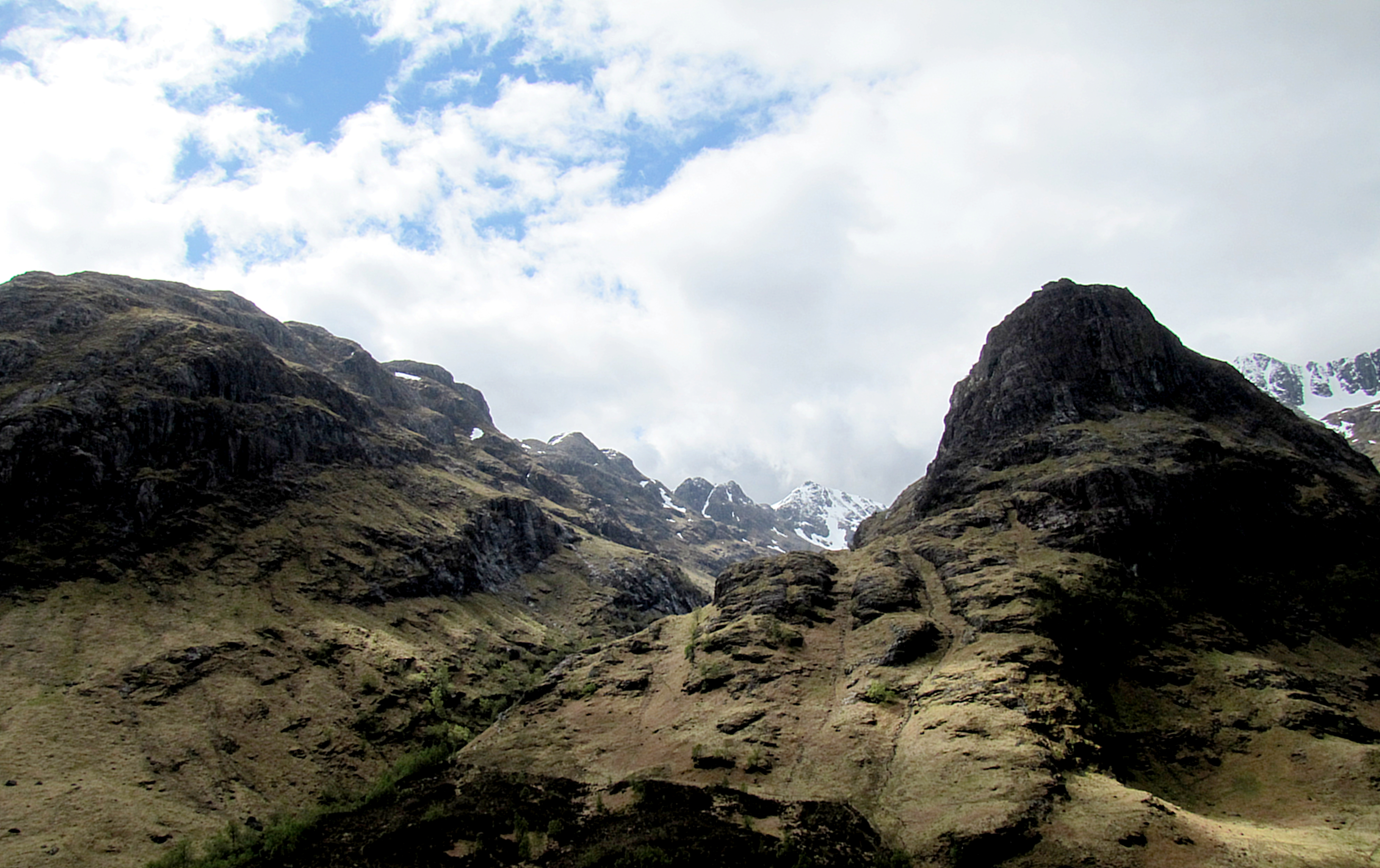 These are two of the Three Sisters of Glencoe. I was trying to find an angle to get all three when I took my faceplant.