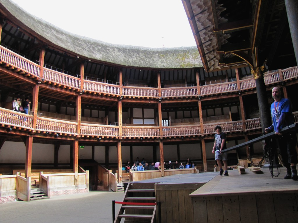 The Globe is a working theatre. They are apparently building the set for Merchant of Venice today.