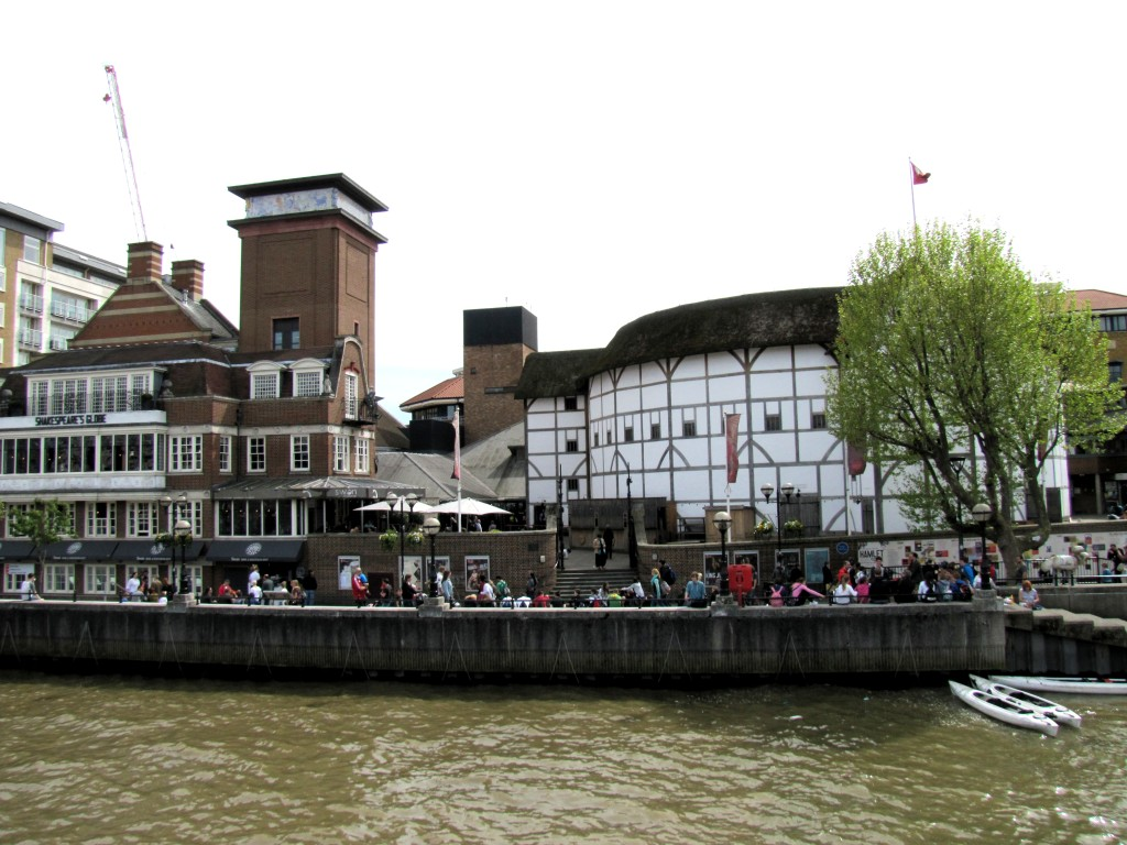 My first view of Shakespeare's Globe from the Thames.