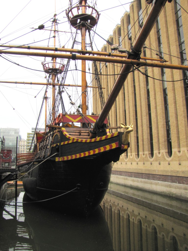 Ship outta nowhere! Walking around the corner, there was a reconstruction of Raleigh's ship, the Golden Hinde.