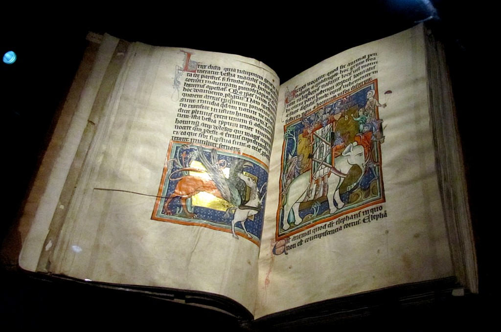 Another bestiary, showing an elephant on the right and a gryphon killing a horse on the left.