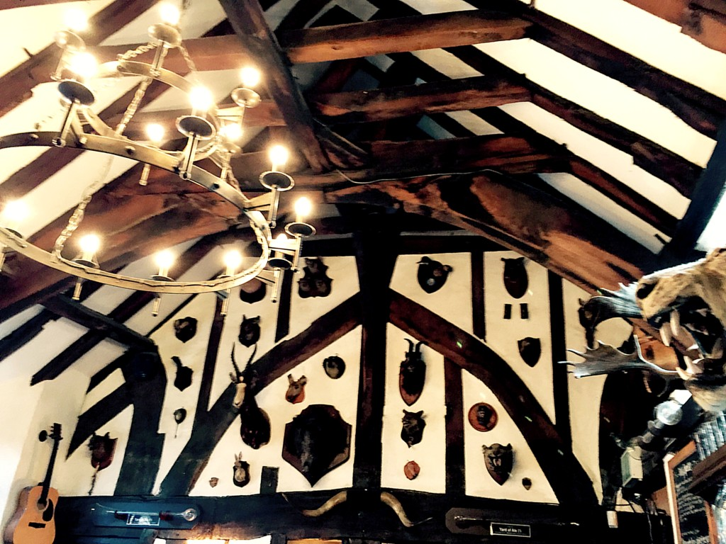The House of Trembling Madness dates from 1180, and was a medieval hall. The main sign of that is the beams in the ceiling. There are also lots of mounted heads, but I don't think they're 850 years old. Still, a very cool spot. And good burger.