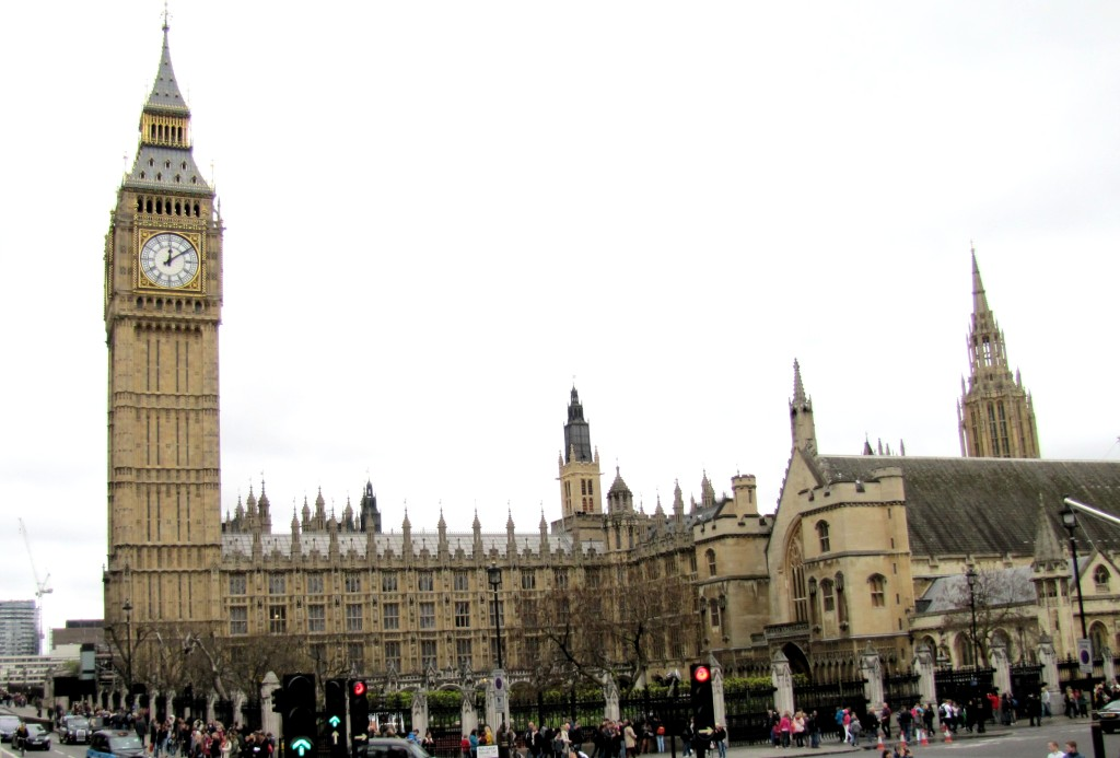 Here we've got the Houses of Parliament, with the Elizabeth Tower, which holds Big Ben, the clock bell.