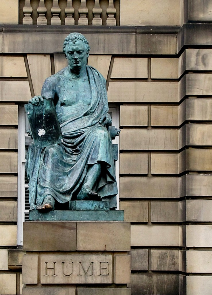 The statue of David Hume in the High Street. He would be very cold in that toga. I wondered about his shiny toe, and found out that it's traditional to touch his toe for wisdom, and that keeps the verdigris from settling - it keeps getting rubbed clean. Yeah, I touched the toe.