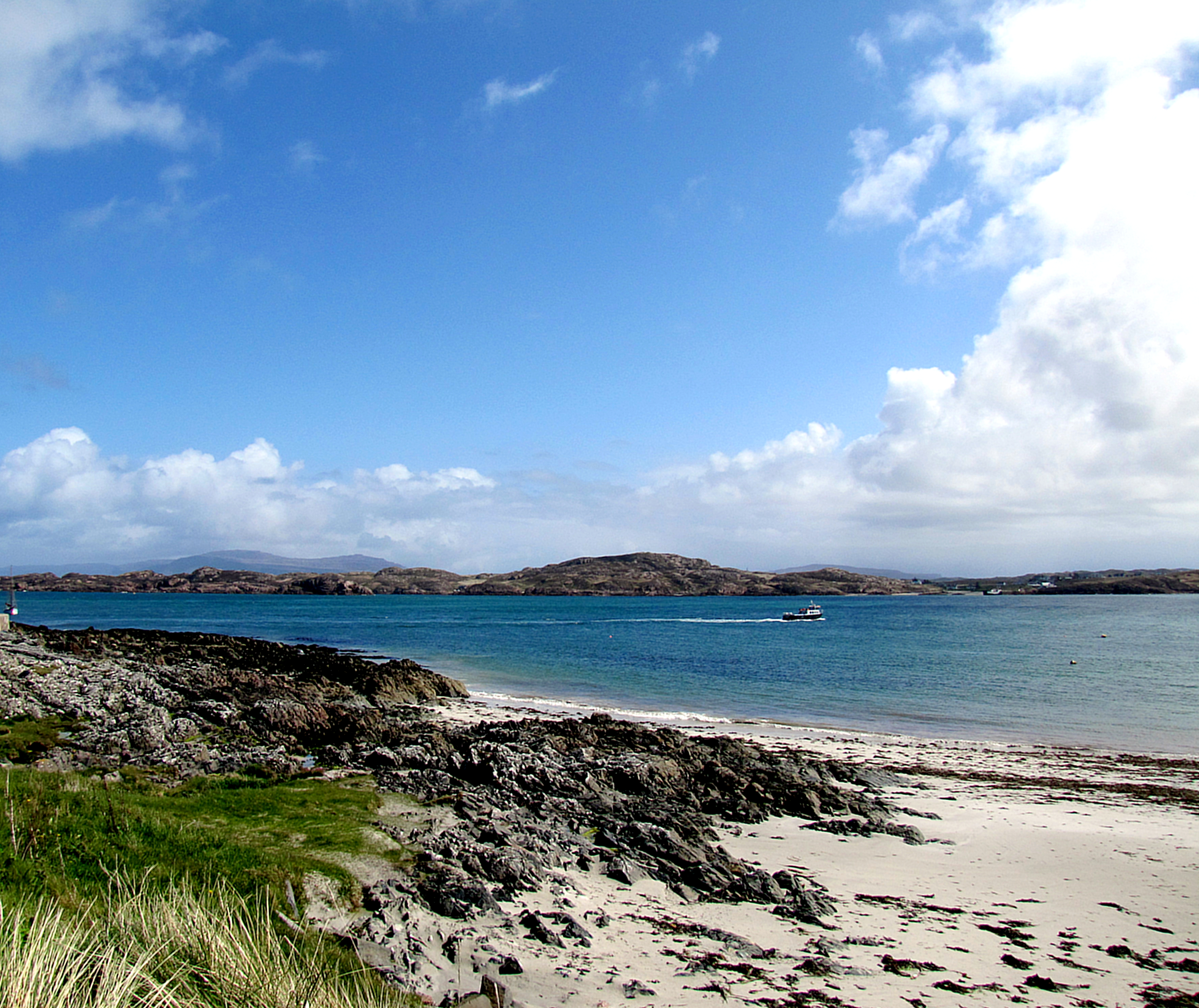 The Iona shore. It looks so nice and clear, but the wind out of the shelter of the island is fierce.