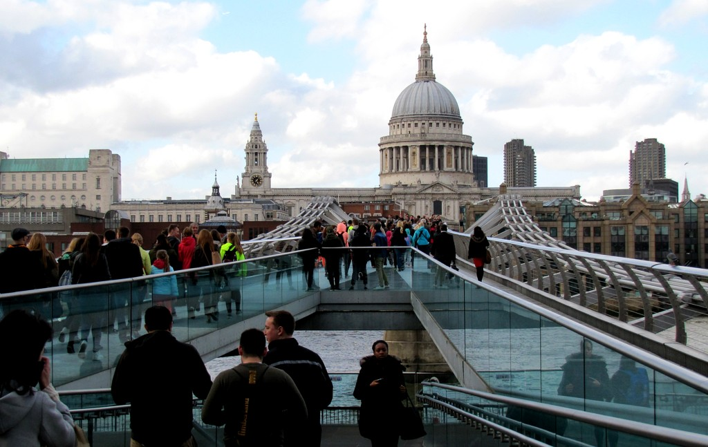 Here's the Jubilee footbridge over the Thames. You can't see much of the bridge itself, but that's the dome of St. Paul rising ahead of me.