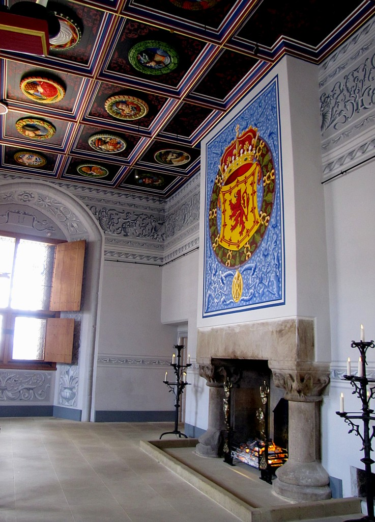 James IV built the palace for his queen, Margaret Tudor, the mother of Mary, Queen of Scots, and elder sister of Henry VIII. He died before ever visiting, which is why none of his furniture is here. This is the room where the king would have met important nobles. Note the colourful faces on the ceiling - they show all manner of people of the day.